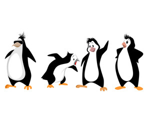 Four funny penguins
