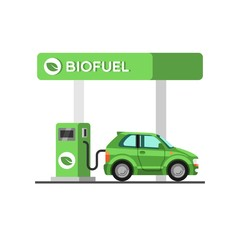 Biofuel. Eco fuel petrol station. Green energy. Save the earth, ecology, alternative energy. Vector illustration.