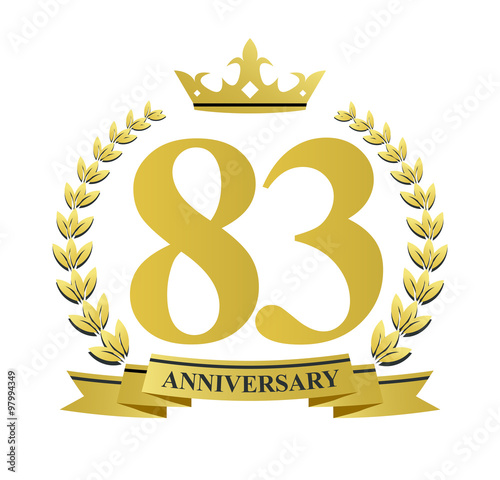 83 Anniversary With Golden Wreath Ribbon And Crown Stock Image And