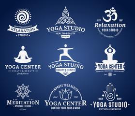 Yoga Studio Labels, Icons and Design Elements