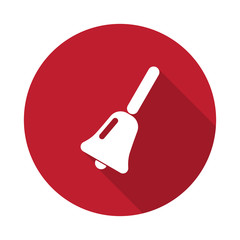 Flat School Bell icon with long shadow on red circle