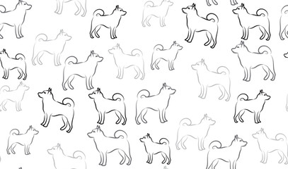 Vector seamless pattern of dogs. Gray chaotic dogs.
