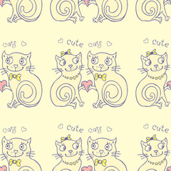 seamless  pattern vector background with different cute cats