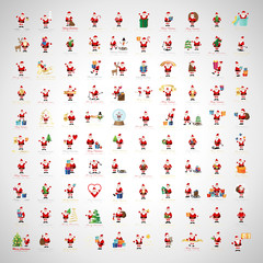 Santa Claus Icons And Christmas Elements Set - Vector Illustration, Graphic Design. For Web, Websites, Print, Presentation Templates, Mobile Applications And Promotional Materials