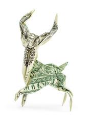 Dollar origami deer isolated