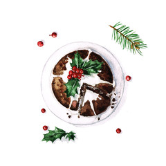 Christmas Pudding - Watercolor Food Collection
