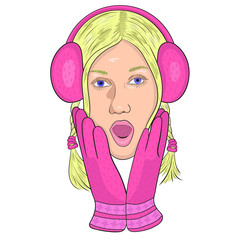 girl in pink headphones and gloves from surprise opened his mout