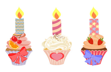 Vector set of cupcakes with burning candles.