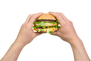 Burger sandwich in hands