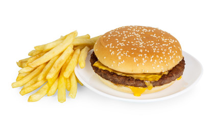 Burger and french fries isolated