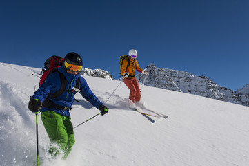 powder skiing with airbag