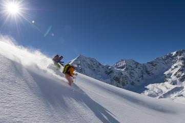 skitouring downhill - powder skiing