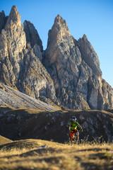Cyclists - mountainbiker in sky