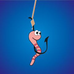 Funny worm on a hook