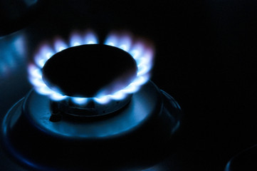 gas stove with blue fire