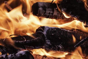 flame coals firewood closeup