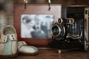 still life stylized wedding photography and old camera