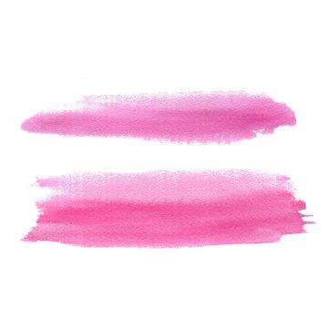 Pink watercolor brush stroke.
