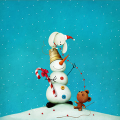 Greeting card or poster with  snowman in a thimble and  toy bear and bunny