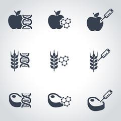 Vector black genetically modyfied food icon set. Genetically Modyfied Food Icon Object, Genetically Modyfied Food Icon Picture, Genetically Modyfied Food Icon Image - stock vector
