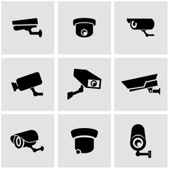 Vector black security camera icon set. Security Camera Icon Object, Security Camera Icon Picture, Security Camera Icon Image - stock vector