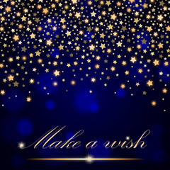 Vector abstract shining falling stars on blue ambient blurred background. Luxury design. Vector illustration
