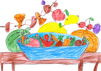 set of fruits and vegetables, illustration, pencil drawing on paper
