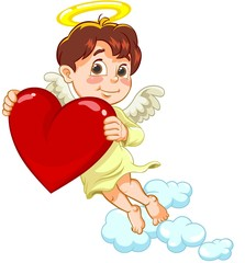 Angel with a heart in hands