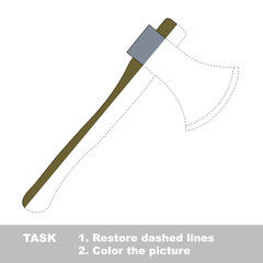 Axe toy to be colored. Vector trace game.