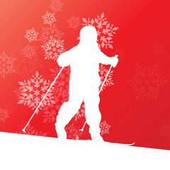 Kid skiing young skier skiing winter background concept with sno