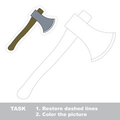 Axe toy to be traced. Vector trace game.