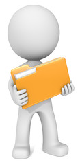 File. Dude 3D character holding Orange Manila Folder. Front view.