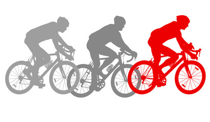Cycling cyclist bike silhouette group athletes vector background