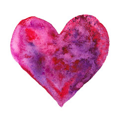 Happy Valentine Day! Watercolor painted purple heart,  element for your lovely design.Watercolor illustration for your card or poster