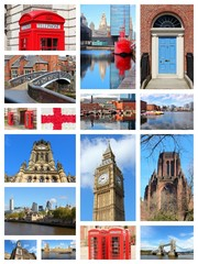 UK landmarks - travel photos collage