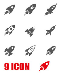 Vector grey rocket icon set. Rocket Icon Object, Rocket Icon Picture, Rocket Icon Image - stock vector