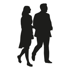 Walking couple, vector silhouette