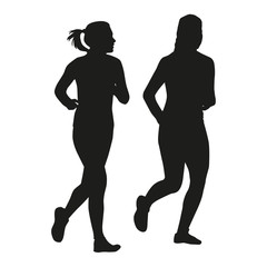 Two running girls talking. Vector silhouette