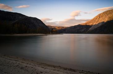 Horizontal vivid smooth Norway fjord bay landscape background ba