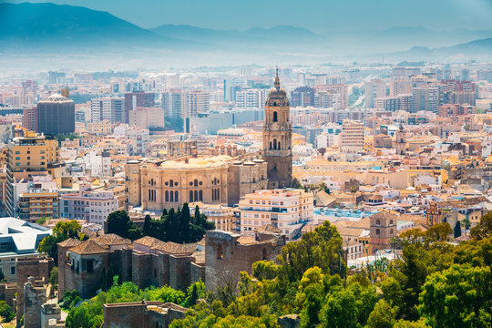 Cityscape aerial view of Malaga, Spain