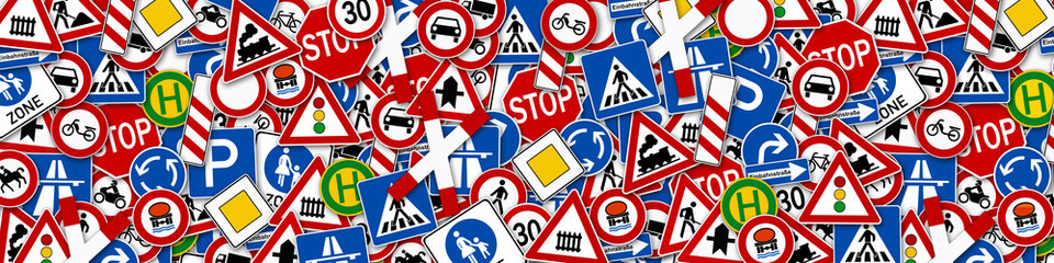 background of many road signs