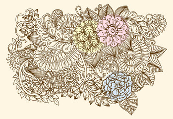 Vector vintage hand drawing of doodle flowers