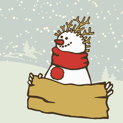 Snowman wearing a scarf with a board for writing.