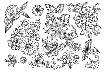Set of doodle floral elements for design or coloring