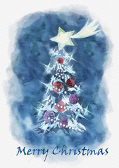 Merry Christmas greeting card with christmas tree and star of Bethlehem. Watercolor illustration