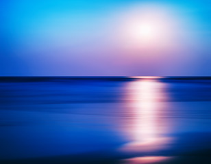 Horizontal vibrant ocean sunset milk motion abstraction backgrou