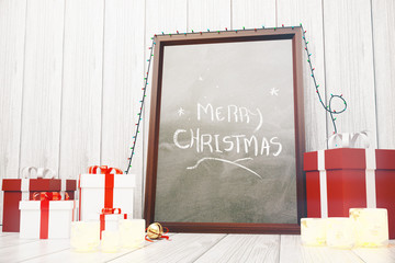 Merry Christmas inscription on picture frame with red and white