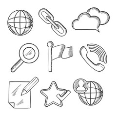 Multimedia and telecommunication icons sketches