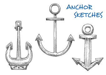 Isolated vintage marine anchors in sketch style