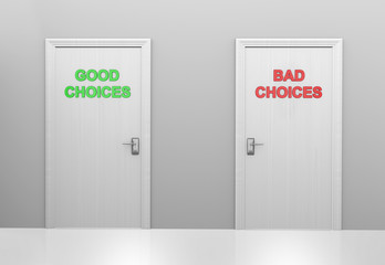 Two doors labeled good choices and bad choices